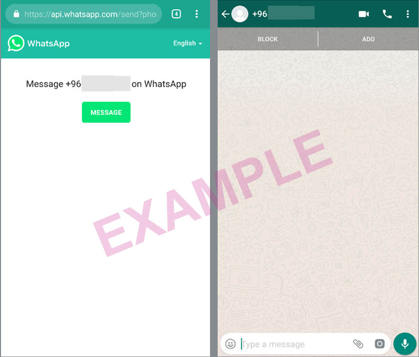 Send a message on WhatsApp without adding them as a contact