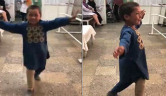 Afghan kid dances with joy after getting an artificial Limb that he lost in a landmine blast