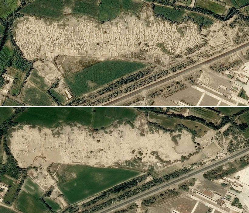 Satellite images from 29th August 2017 (top) shows a cemetery (central) and the same view on 5th July 2019 (bottom)