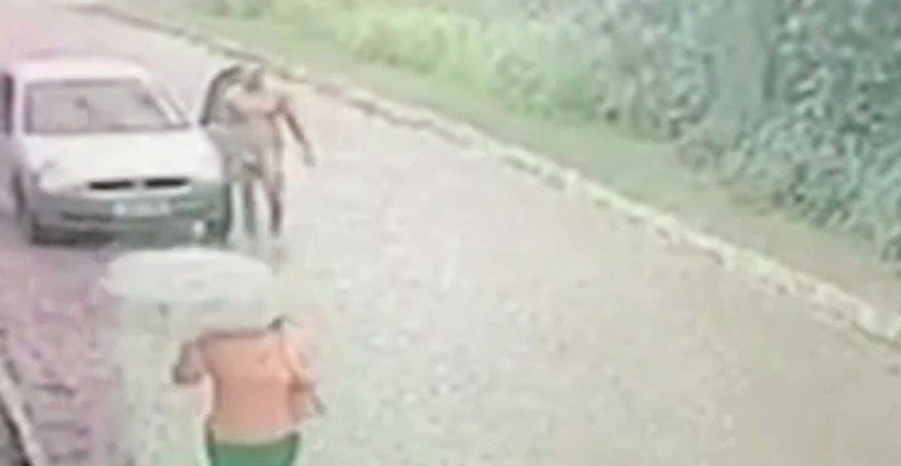 Terrifying moment naked man chases woman down a deserted road and tries to rape her
