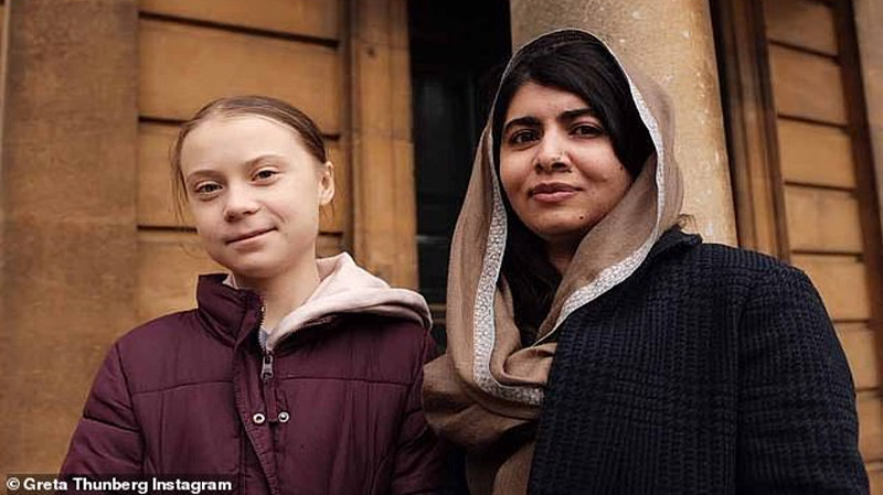 Greta also posted a picture of her meeting at Oxford on Tuesday, calling Malala 'a role model'