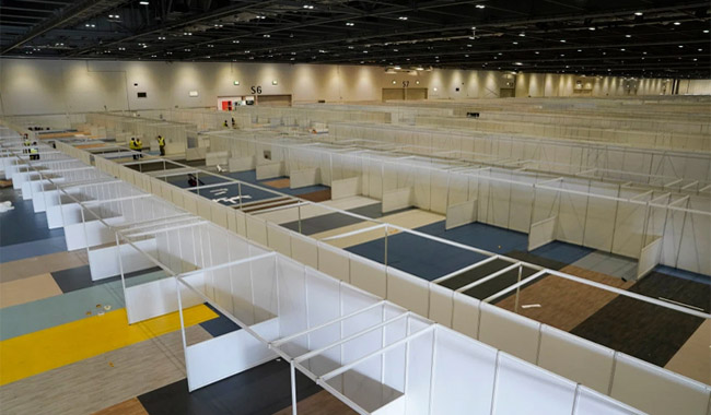 The huge exhibition center has been converted into a makeshift hospital  credit: Crown Copyright