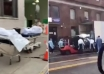 Bodies loaded onto freezer truck with forklift at NY hospital as coronavirus death toll soars