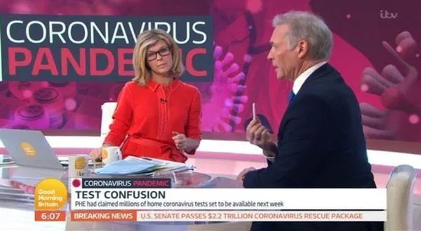 Dr Hilary shows Kate Garraway how the new antibody test can tell if someone has had Covid-19. Credit: GMB