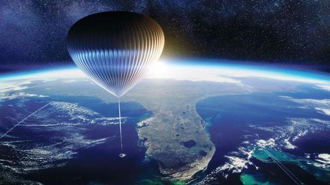 An artist's impression of a Space Perspective balloon and crew module high above Florida and the Gulf of Mexico.