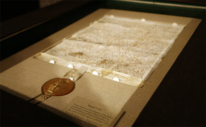 The Magna Carta on display at Sotheby's auction house in New York. Photo: Reuters